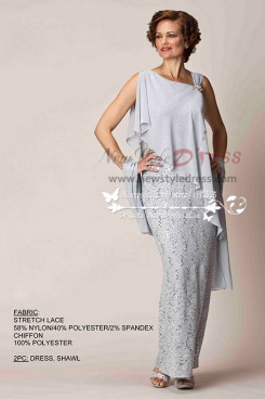Elegant light gray mother's  evening wear lace dress with chiffon shawl cms-082