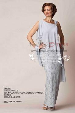 Elegant light gray mother's  evening wear lace dress with chiffon shawl cms-082