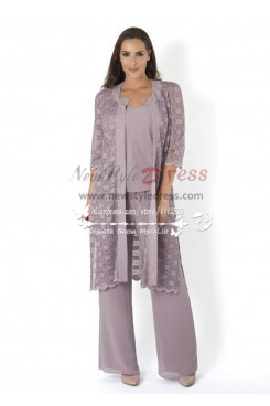 Elegant mother of the birde pant suit 3 piece outfit with lace jacket for wedding nmo-170