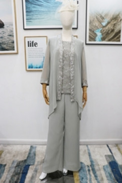 Elegant Mother of the bride pant suit dresses 3PC Gray Trousers outfit Real pic nmo-607