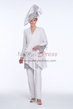 New arrival Elegant Mother of the bride Pant suit White High-end Trouser Outfits nmo-431