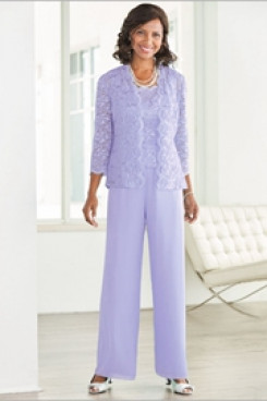 Lilac Mother of the bride pant suit with Lace jacket  Elastic waist High-end Trousers suit nmo-526