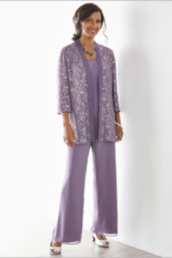 Elegant Mother of the bride pant suits Purple 3 PC Trousers outfit New arrival nmo-518