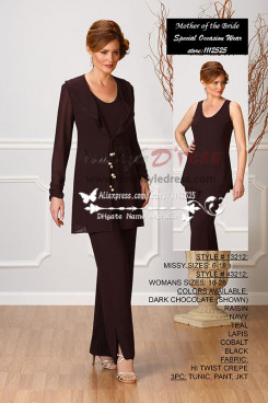 Elegant mother of the bride pant suits with jacket three piece chocolate chiffon outfits for Special Occasion