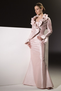 Elegant Ruched High Collar Handmade flower Sleeve length dress np-0365