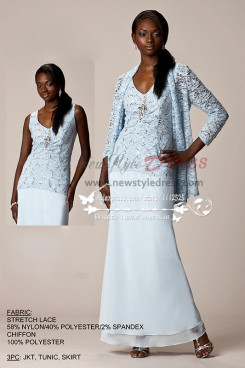 3PC mother of the bride outfits sky blue Lace JKT and tunic and chiffon skirt cms-080