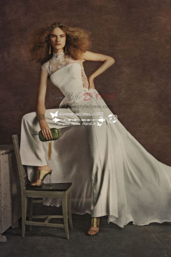 Elegant wedding pants bridal jumpsuit with train for spring wedding wps-028