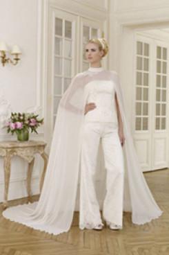 Elegant wedding pant suit lace dress with chiffon cloak wps-030