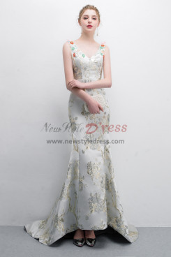 Embroidery Satin Court Train Prom dress With Hand  beading