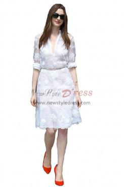 Fashion White lace Half Sleeves dresses nmo-343