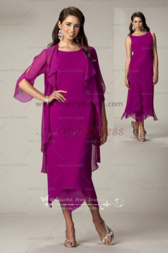 fushia Chiffon Informal cheap mother of the bride dress with jacket cms-065