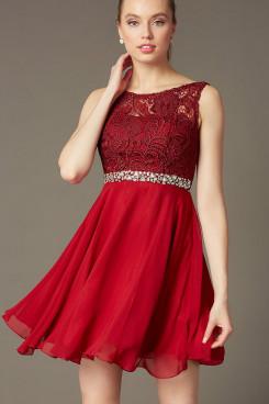 Glamorous Burgundy Chiffon Graduation Dress, Short Party Short Dress sd-030-1
