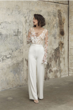 Glamorous Lace Wedding Jumpsuits Long Sleeves Bride Outfits wps-236