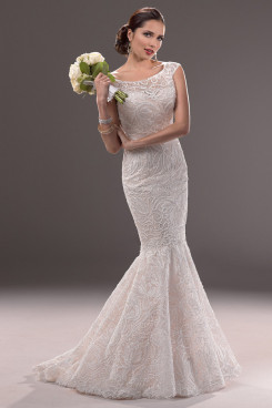 Jewel lace Appliques Sheath Mermaid Glamorous Spring wedding dresses nw-0181