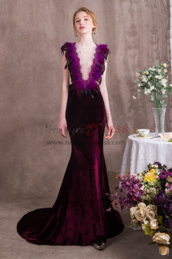 Glamorous Purple Prom dresses With Feathers Velvet Women wear for Special occasions