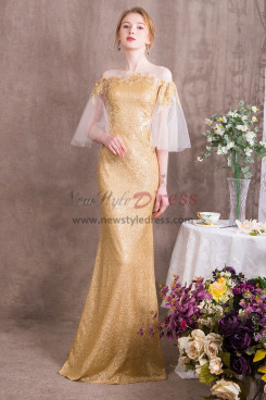 Gold Prom dresses Special occasion Wear Spring New arrival NP-0375