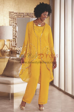 Gold Yellow Beaded Trousers outfit Mother of the bride pant suit Wear nmo-432