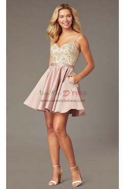 Gorgeous Beaded-Bodice Mocha Homecoming Dress,Bean Paste Party Dress sd-020