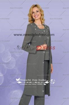 Gray Crystal 3pc Pant Suit Elegant Mother's Pants Suit nmo-110
