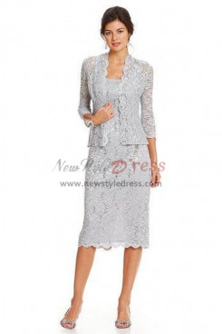 Gray Lace Modern Mother of the bride suits dresses nmo-350