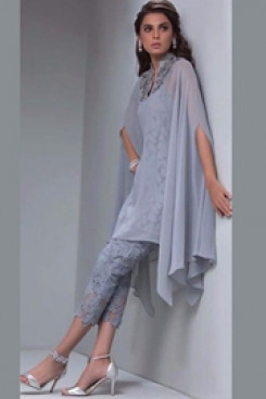 Gray Lace Mother of the bride pant suits with Overlay Mid-Calf nmo-503