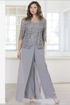 Gray Lace Mother of the groom pant suits dresses with jacket nmo-548