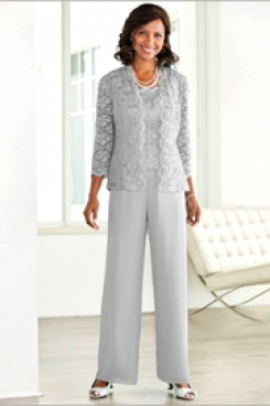 Gray Lace outfits Mother of the bride pant suit with jacket Elastic waist High-end pants outfit Aqua nmo-527