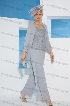 Gray Mother of the bride Trousers set 2020 New arrival nmo-680