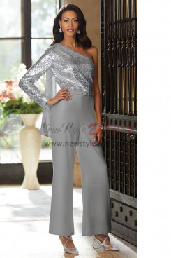 Gray One Shoulder Mother of the bride pant suit Jumpsuit with Sequins Trousers set nmo-442