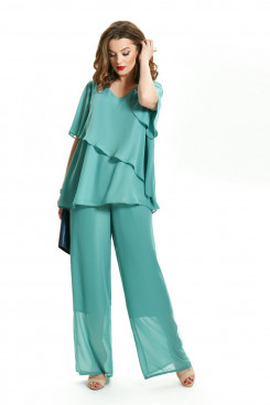 Green Chiffon 2PC Mother of the Bride Pant Suits for Beach Wedding nmo-717-2