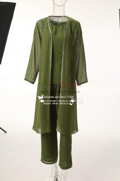 Green Chiffon Mother of the bride pant suits with long coat MT0017012