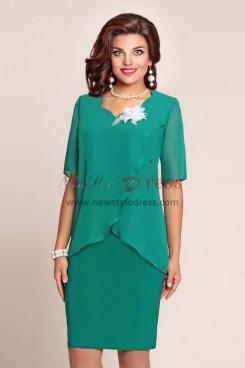 Green Chiffon Ruffles Modern Mother Of The Bride Dresses nmo-345