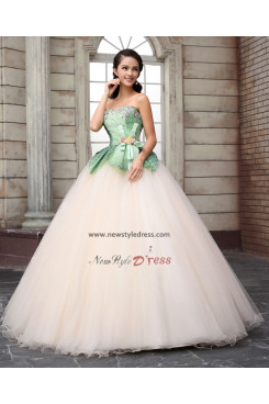 green flower Tulle ball gown Champagne Unique Discount Quinceanera Dresses under 200 nq-008