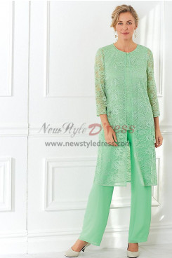 Green lace Mother of the bride pant suit dress 3-PC nmo-456