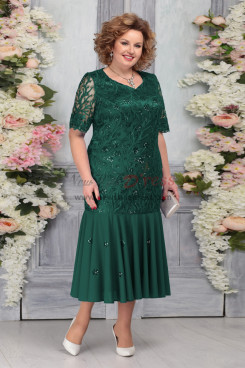 Green Plus Size Short Sleeves Women's Dresses Mermaid Mother of the Bride Dresses nmo-759-3