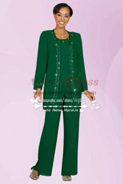 Green Three piece mother of the bride pants suit with jacket