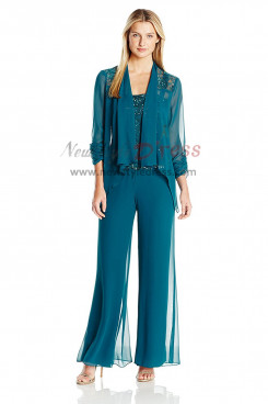 092c854aed1b Greenblack Hunter Mother of the bride pant suits Chiffon Three piece Outfits  nmo-411