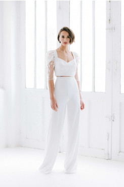 Half Sleeves Lace lovely Bridal Jumpsuits Guests Outfits wps-216