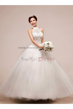 Halter Chest with beading Tulle Organza Ball Gown Floor-Length Chest Appliques Wedding dresses nw-0048