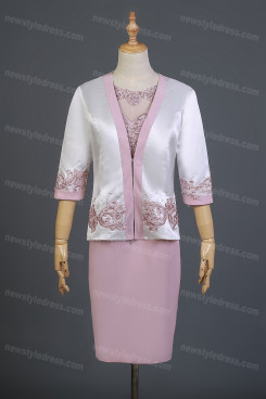 Hand Beading Mother Of The Bride Dress,Knee-Length Mother Of The Bride Outfits With Jacket nmo-738