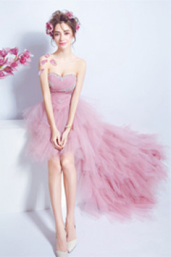 Pink Hi-Lo Prom dresses Layered Tulle wedding party dress nmo-557
