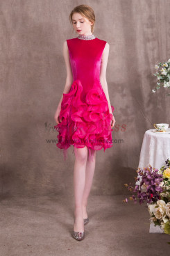 High Collar Rose Red Prom dresses Charming Ruffles Short dress