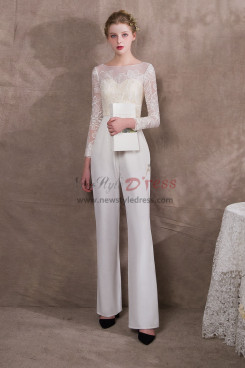 Ivory Wedding Jumpsuits With Sleeves free shipping NP-0403