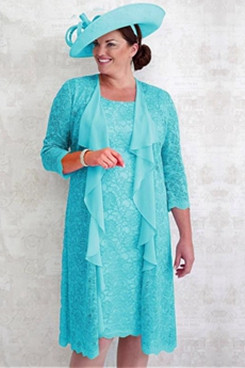 Jade Blue Lace Plus size Mother of the bride dress 2PC women's outfits NMO-634