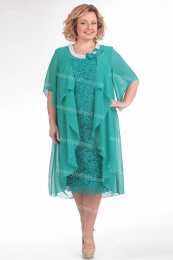 Jade Green Plus Size Mother Of The Bride Dress Mid-Calf Women's Dresses nmo-726-1