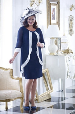 Knee-Length Chiffon Plus size Mother of the bride dress With Sleeves Navy NMO-635