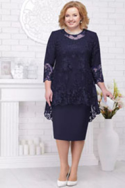 Knee-Length Mother of the bride dresses Dark navy plus size women's outfits nmo-580