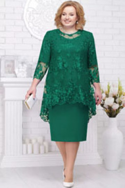 Knee-Length Plus size Mother of the bride chiffon dress with lace Overlay Grenn nmo-581