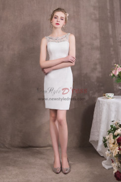 Knee-Length Sheath White Prom dresses free Shipping NP-0418