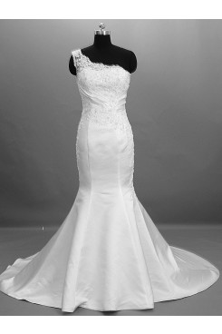 lace Pattern Hand-beading Mermaid Glamorous Sweep Brush Train Wedding dresses nw-0029